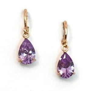 Small Purple Crystal Dangle Earrings